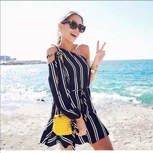 Zara one shoulder navy stripe dress